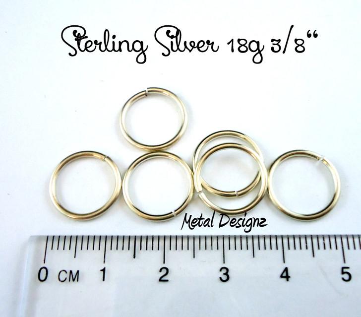 """Sterling Silver Jump Rings 18 Gauge 3/8"""" id."""