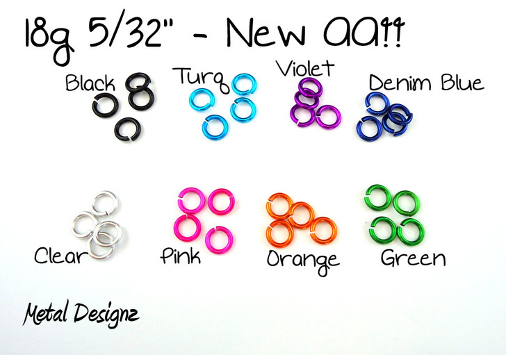 New Anodized Aluminum Jump Rings 18 Gauge 5/32""