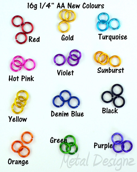 New Anodized Aluminum Jump Rings 16 Gauge 1/4""