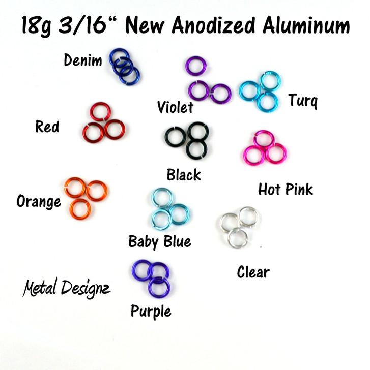"New Anodized Aluminum Jump Rings 18 Gauge 3/16"""