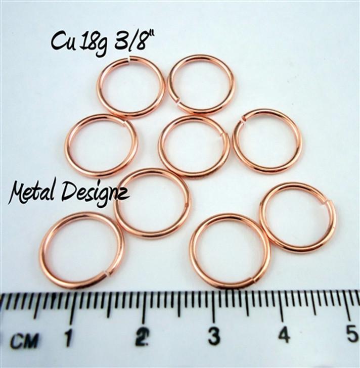 """Copper Jump Rings 18 Gauge 3/8"""" id."""