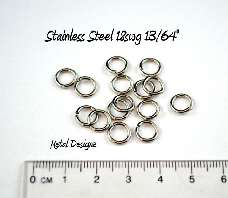 "Stainless Steel Jump Rings 18 Gauge 13/64"" id."