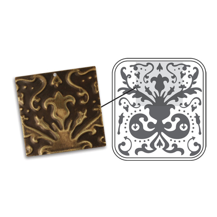 LILY DAMASK VINTAJ DECOEMBOSS  - Metal Folders for sizzix or cuttlebug