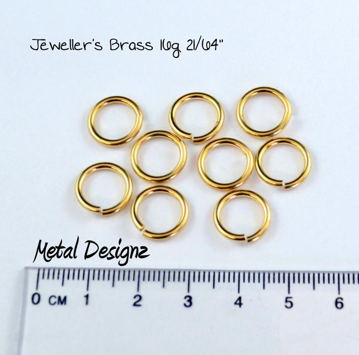 "Jewellers Brass Jump Rings 16 Gauge 21/64"" id."