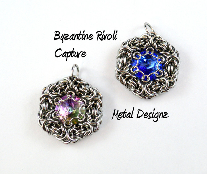 Byzantine Captured Rivoli Pendant Kit - Makes 4 Pendants