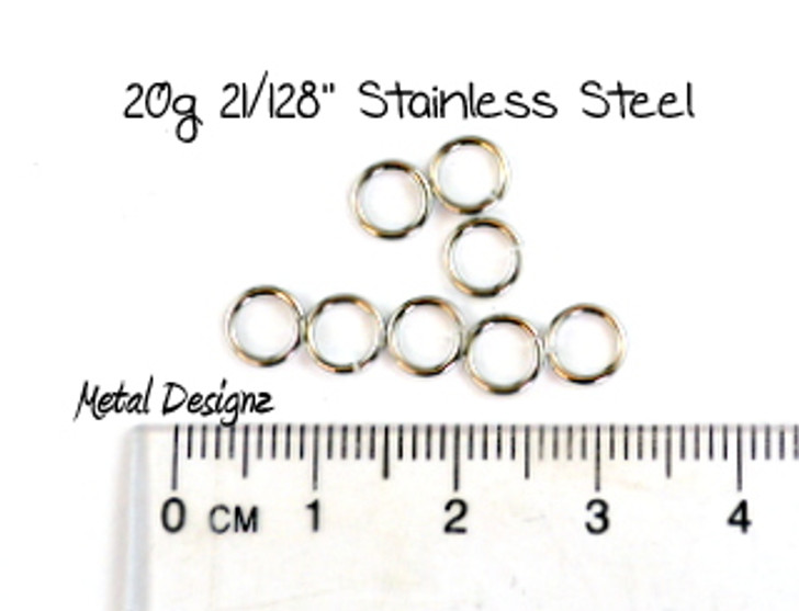 """Stainless Steel Jump Rings 20 Gauge 21/128"""" id."""