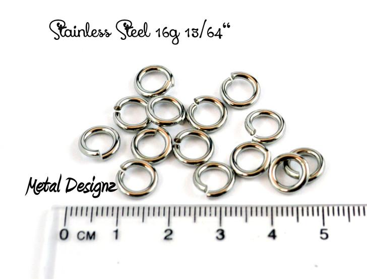 """Stainless Steel Jump Rings 16 Gauge 13/64"""" id."""