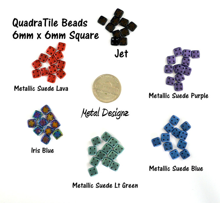 CzechMates QuadraTile Bead - 6mm - 10g bag