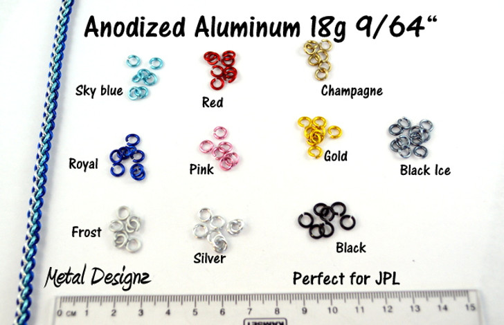 """Anodized Aluminum Jump Rings 18 Gauge 9/64"""""""