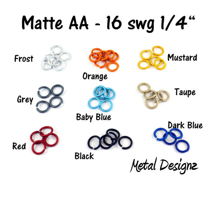 """Anodized Aluminum Jump Rings 16 Gauge 1/4""""- MATTE COLOURS"""