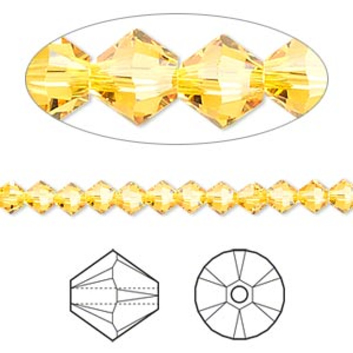 Swarovski Crystal, 4mm  bicone (48pk), Sunflower