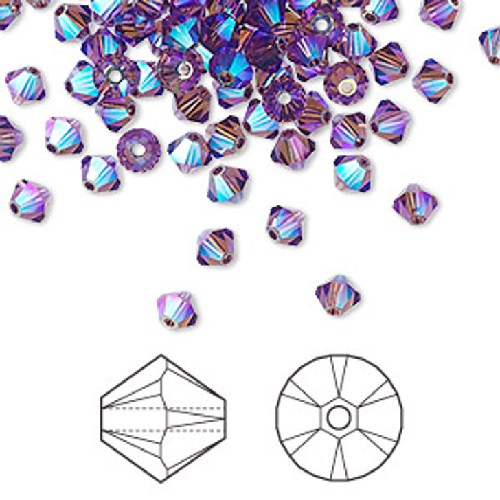 Swarovski Crystal, 4mm  bicone (48pk), Amethyst AB 2X