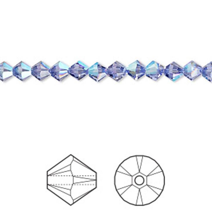 Swarovski Crystal, 4mm  bicone (48pk), Tanzanite Shimmer