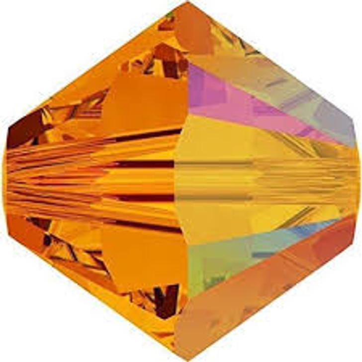 Swarovski Crystal, 4mm  bicone (48pk), Tangerine