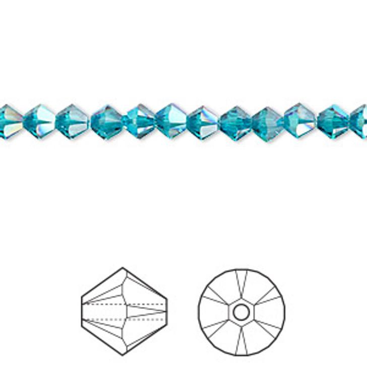Swarovski Crystal, 4mm  bicone (48pk), Blue Zircon Shimmer