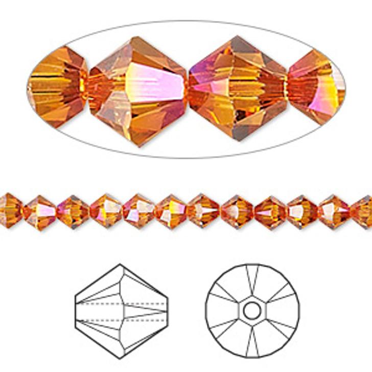 Swarovski Crystal, 4mm  bicone (48pk), Astral Pink