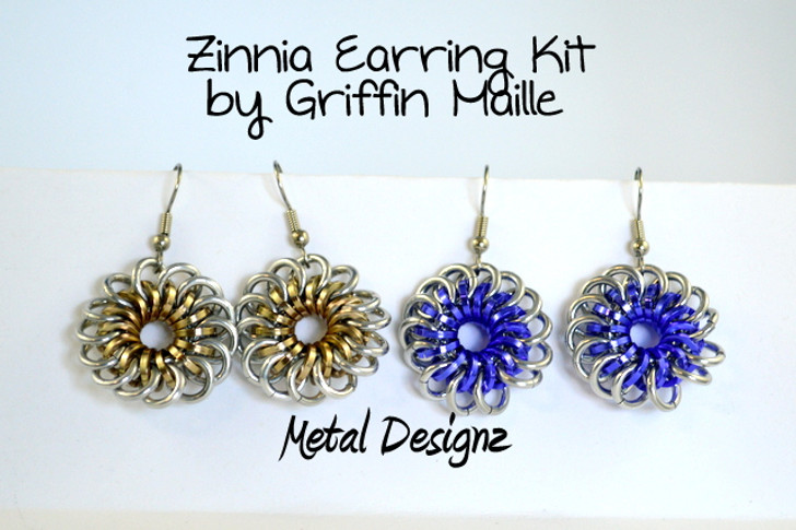 Zinnia Flower Earring Kit - GriffinMaille Kit - No Tutorial included