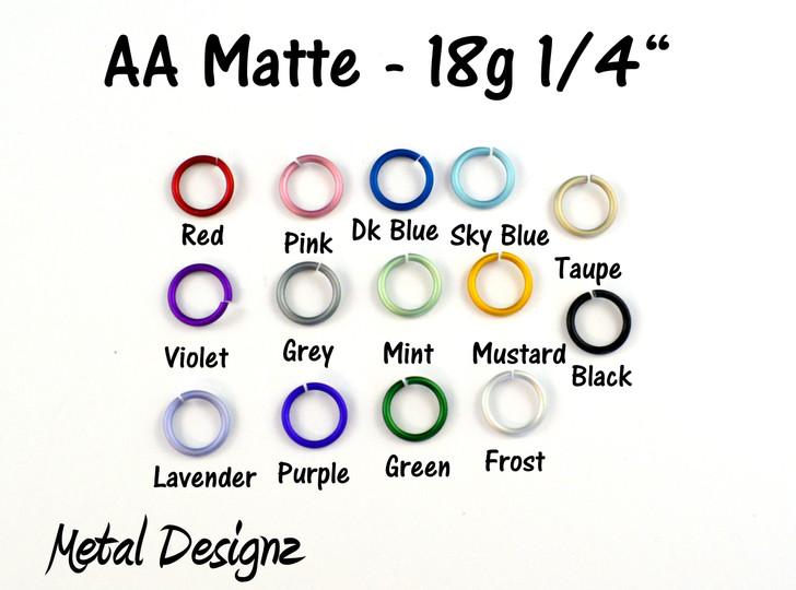 """Anodized Aluminum Jump Rings 18 Gauge 1/4"""" - Matte Colours"""