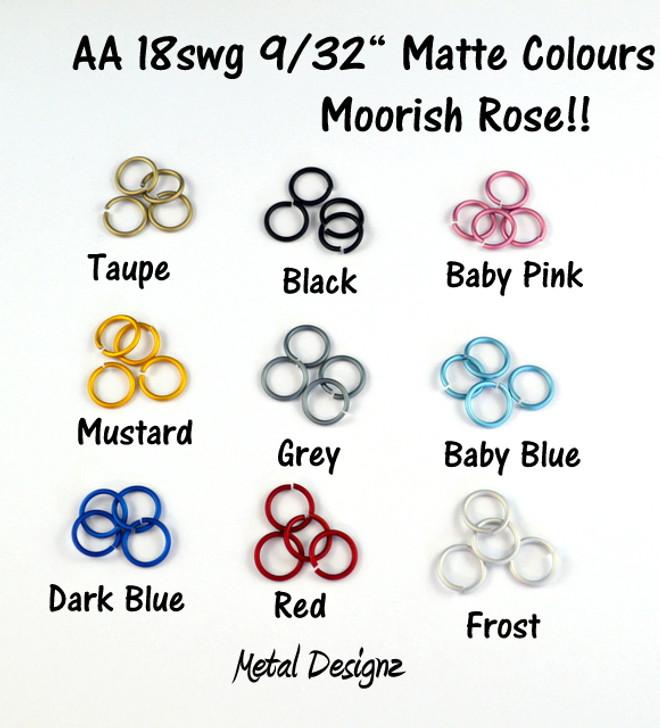 """Anodized Aluminum Jump Rings 18 Gauge 9/32""""- MATTE COLOURS"""