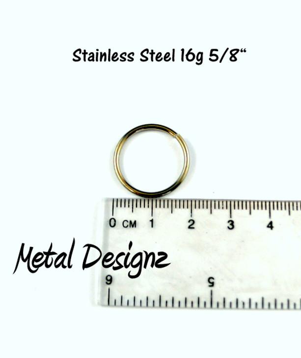 """Stainless Steel Jump Rings 16 Gauge 5/8"""" id."""