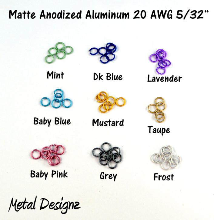 """Anodized Aluminum Jump Rings 20 Gauge 5/32""""- MATTE COLOURS"""
