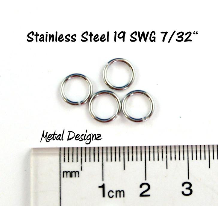 """Stainless Steel Jump Rings 19 Gauge 7/32"""" id."""