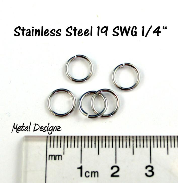 """Stainless Steel Jump Rings 19 Gauge 1/4"""" id."""