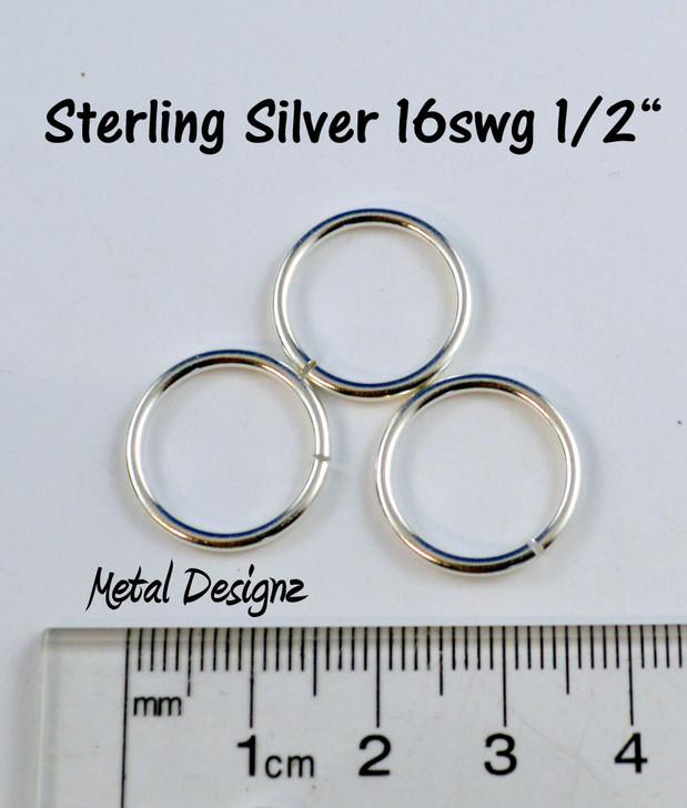 """Sterling Silver Jump Rings 16 Gauge 1/2"""" id."""