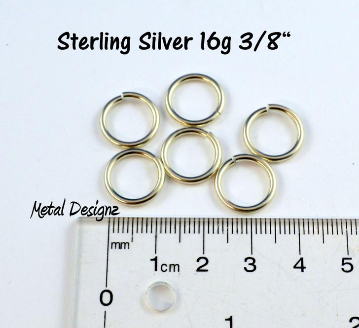 """Sterling Silver Jump Rings 16 Gauge 3/8"""" id."""
