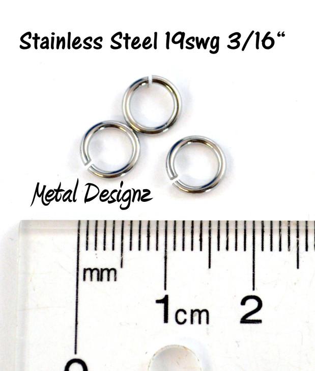 """Stainless Steel Jump Rings 19 Gauge 3/16"""" id."""