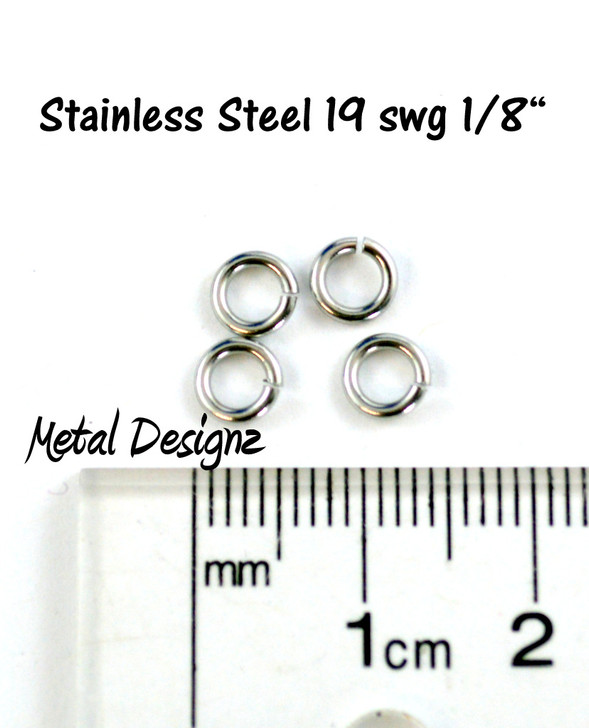 "Stainless Steel Jump Rings 19 Gauge 1/8"" id."