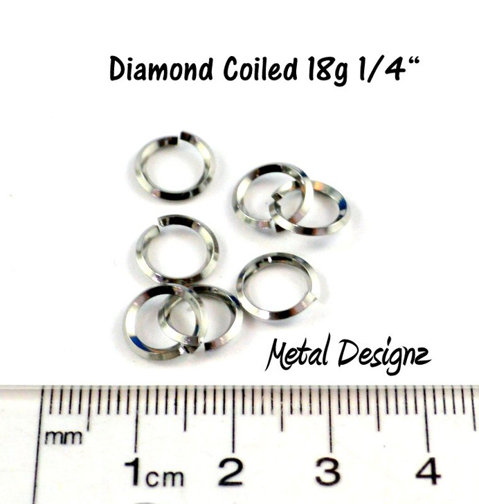 Diamond Coiled Square Stainless Steel Jump Rings 18 Gauge 1/4""