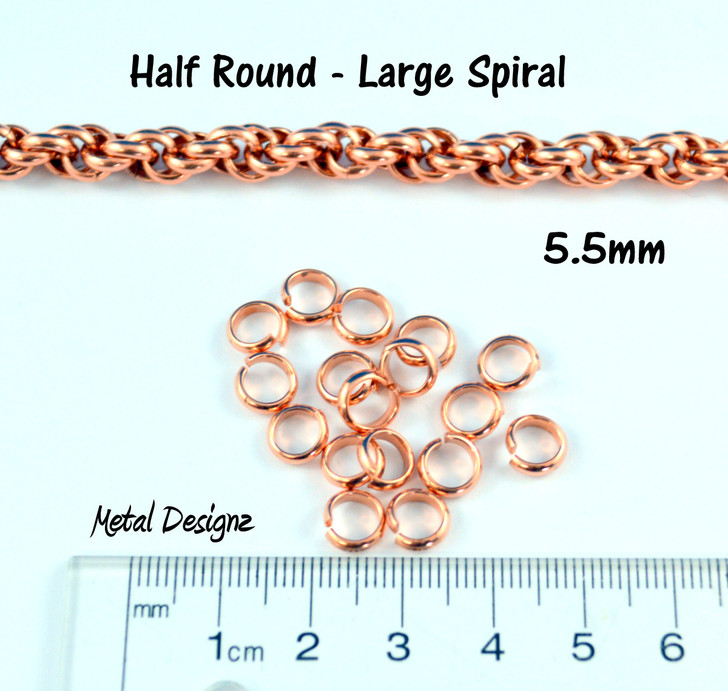 "Copper Half Round  Rings -12G 13/64"" - Perfect for Spiral"