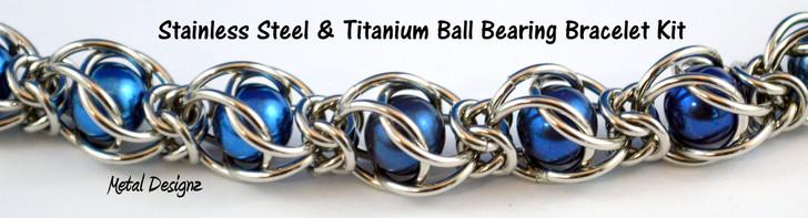 Caged Ball Bearing Bracelet Kit - Stainless Steel and Titanium - Large