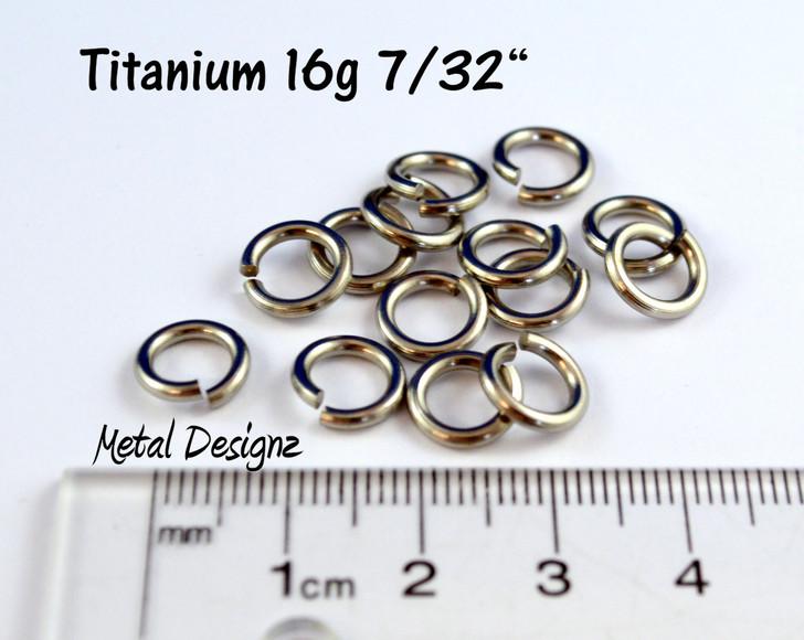 "Titanium Jump Rings 16 Gauge 7/32"" id."