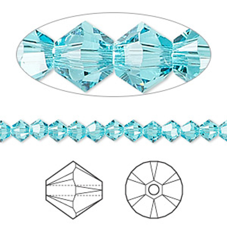 Swarovski Crystal, 4mm  bicone (48pk), Light Turquoise