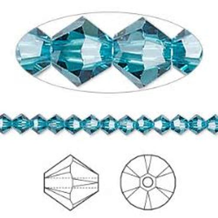 Swarovski Crystal, 4mm  bicone (48pk), Indicolite