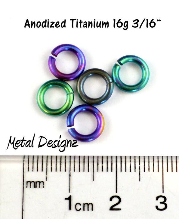 "Anodized Titanium Jump Rings 16 Gauge 3/16"" id."