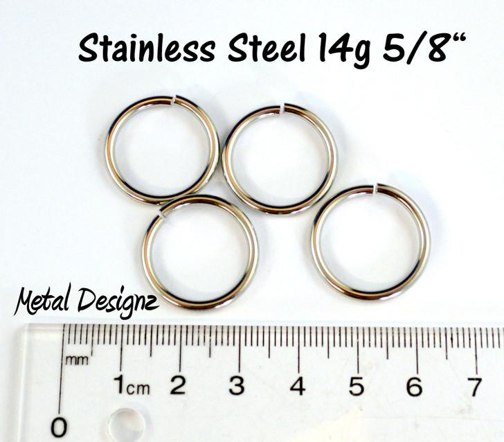 """Stainless Steel Jump Rings 14 Gauge 5/8"""" id."""