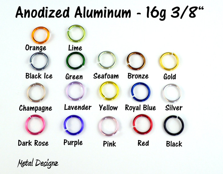 Anodized Aluminum Jump Rings 16 Gauge 3/8""