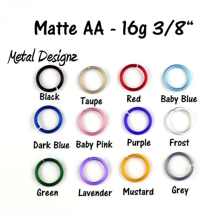 "Matte Anodized Aluminum Jump Rings 16 Gauge 3/8"""