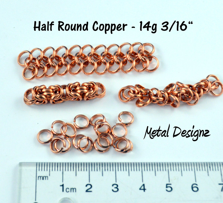 "Copper Half Round  Rings - 14g 3/16"""