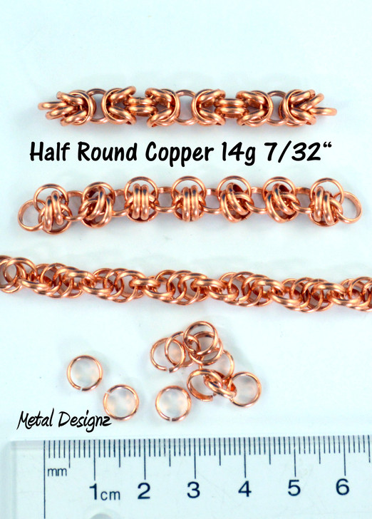 Copper Half Round  Rings - 14g 7/32""