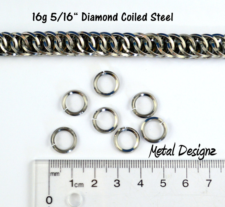 """Diamond Coiled Square Stainless Steel Jump Rings 16 Gauge 5/16"""""""