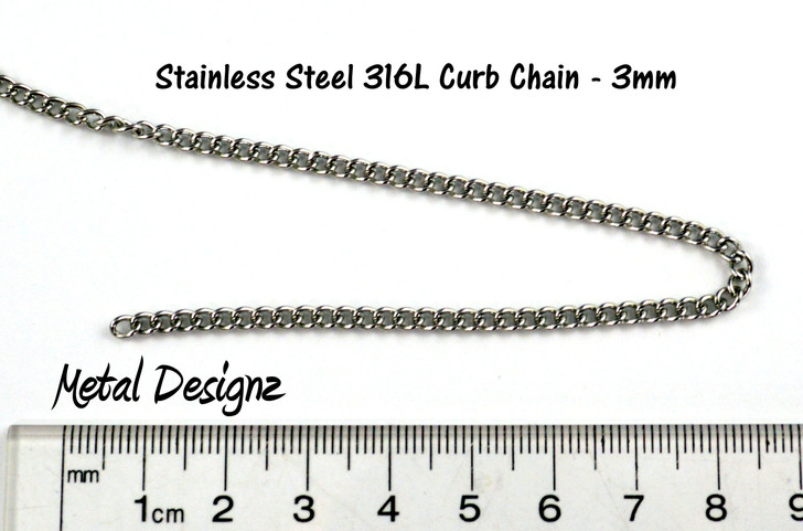 Stainless Steel Curb Chain - 3mm - By the foot