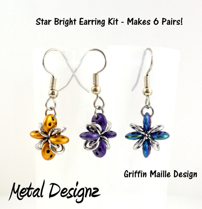 Star Bright Earring Kit - GriffinMaille Kit - No Tutorial included - quadralentil