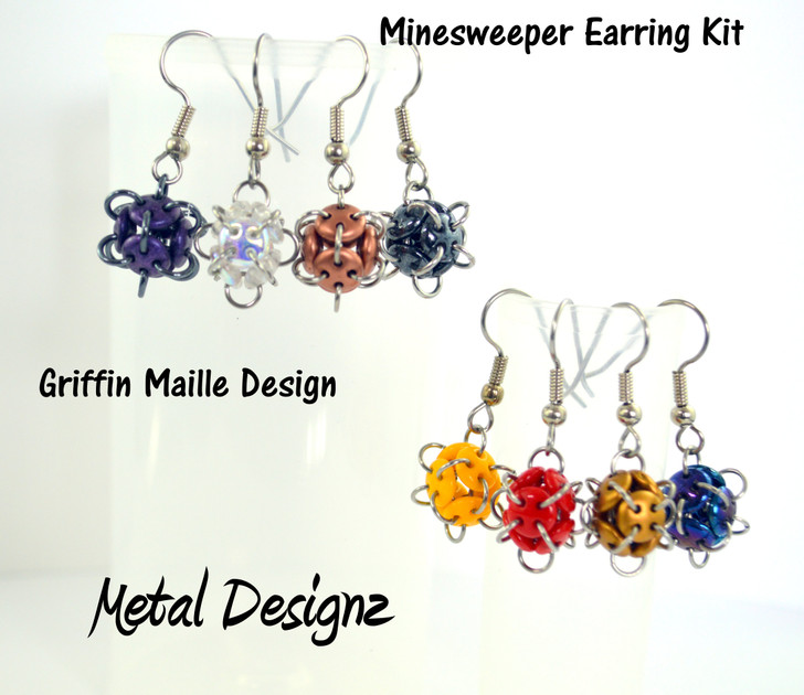 Minesweeper Earring Kit - GriffinMaille Kit - No Tutorial included - quadralentil