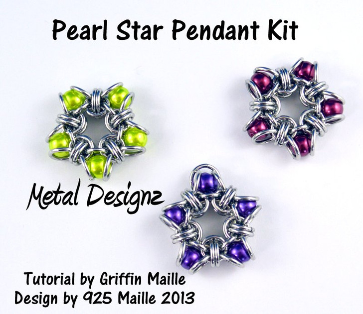 Pearl Star Pendant Kit - GriffinMaille Kit - No Tutorial included -Makes 3 pendants