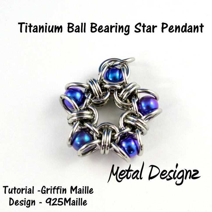 Titanium Ball Star Pendant Kit - GriffinMaille Kit - No Tutorial included - Makes 2 pendants