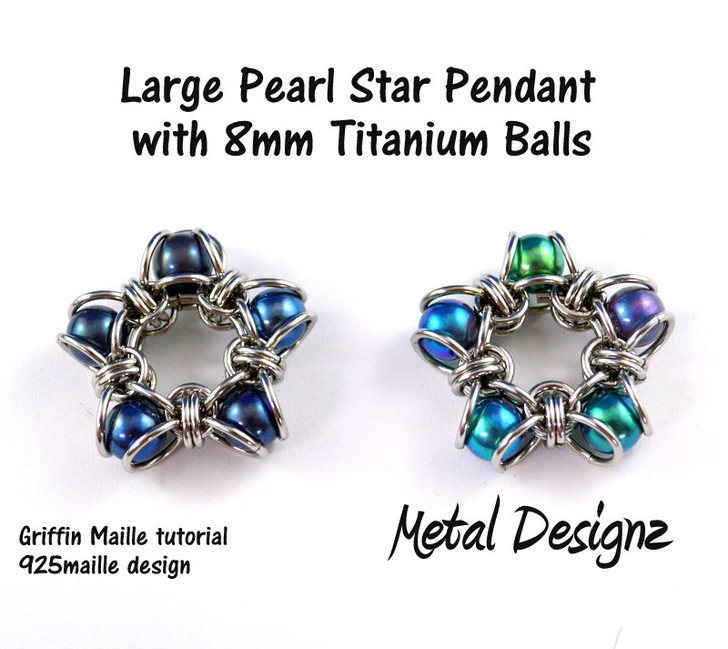 Large Titanium Ball Star Pendant Kit - GriffinMaille Kit - No Tutorial included - Makes 2 pendants